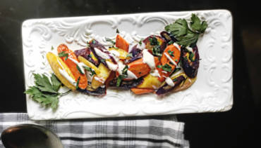Rainbow Carrots Drizzled With A Yogurt Dressing